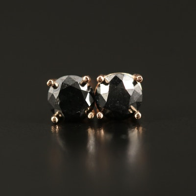 14K Rose Gold 0.70 CTW Black Diamond Stud Earrings