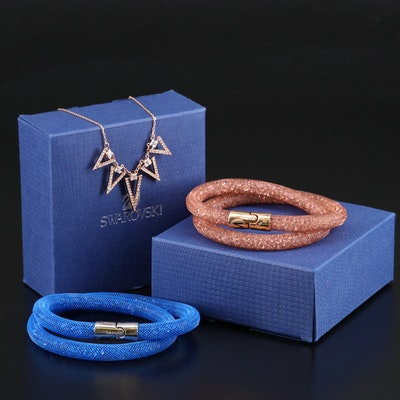 "Swarovski  ""Stardust"" Bracelets and ""Funk"" Graduated Necklace"