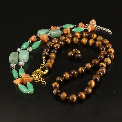Beaded Necklaces and Earrings with Tiger's Eye, Aventurine and Quartz