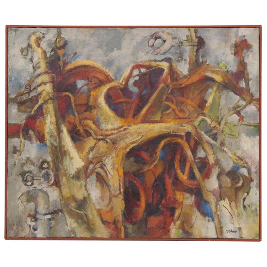 Frede Vidar Abstract Oil Painting, Mid-20th Century