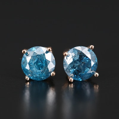 14K Rose Gold 1.20 CTW Blue Diamond Stud Earrings