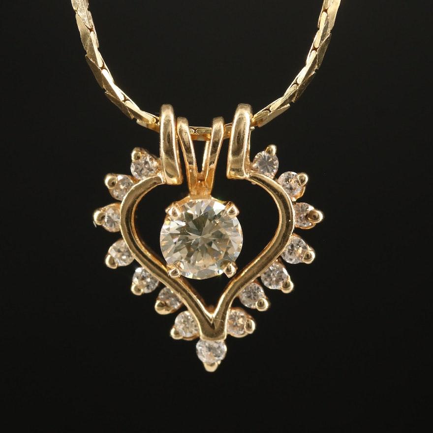 14K Diamond Solitaire and Diamond Heart Enhancer Pendant Necklace