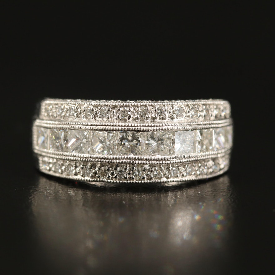 Platinum 1.97 CTW Diamond Multi-Row Ring