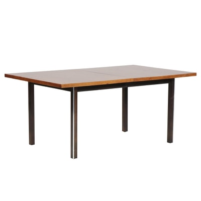 American of Martinsville Mid Century Modern Walnut and Chrome Dining Table