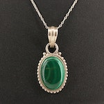 Sterling Malachite Pendant with Platinum Chain
