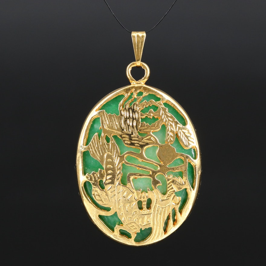 Two Sided Oval Quartz Cabochon Pendant with Openwork Dragon Pattern