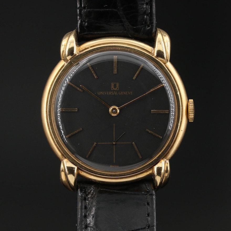 "Vintage ""Universal Geneve"" 18K Yellow Gold Stem Wind Wristwatch"