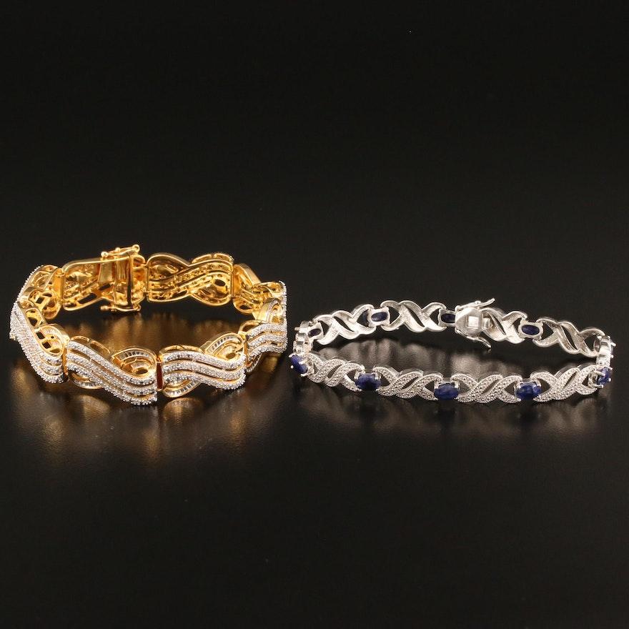 Kyanite and Diamond Link Bracelets