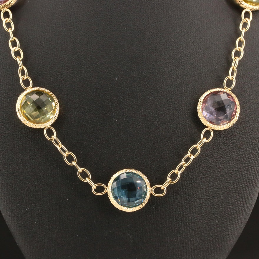 18K Amethyst, Citrine and Topaz Station Necklace