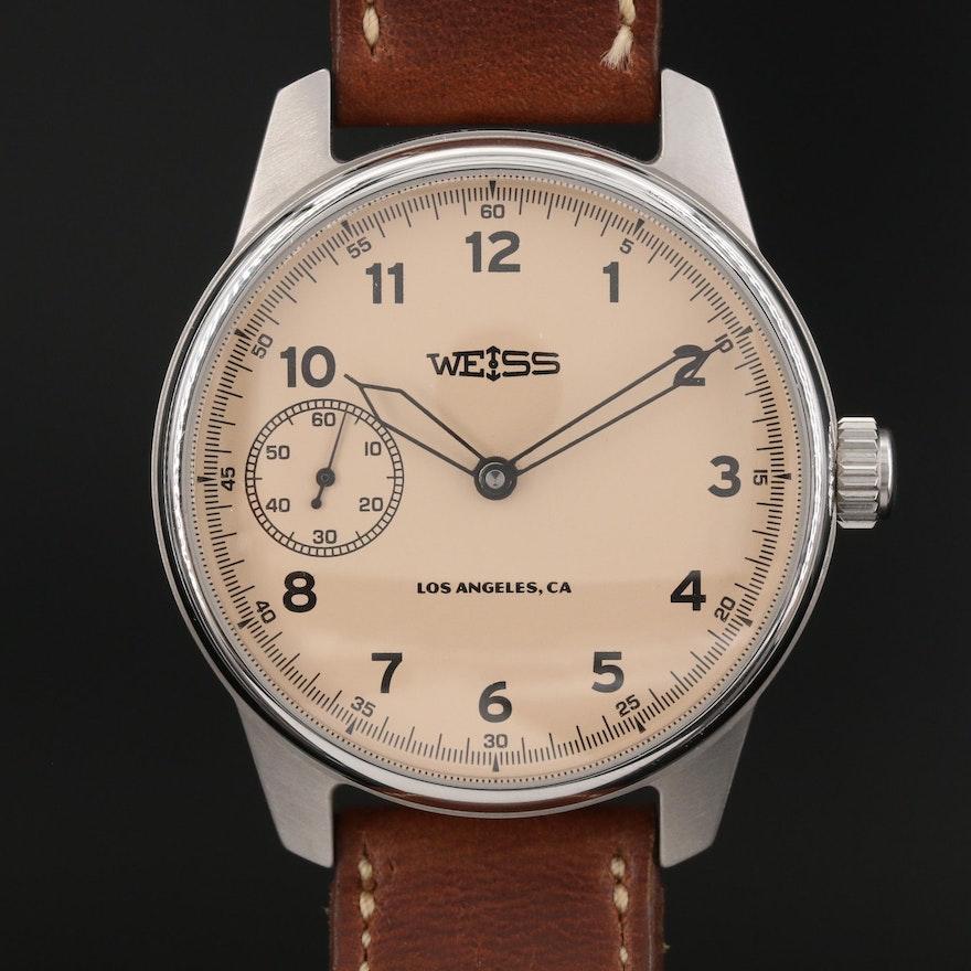 2016 Weiss Special Issue Field Watch Stainless Steel Stem Wind Wristwatch