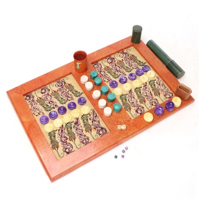 Seahorse and Coral Needlepoint Backgammon Board with Accessories
