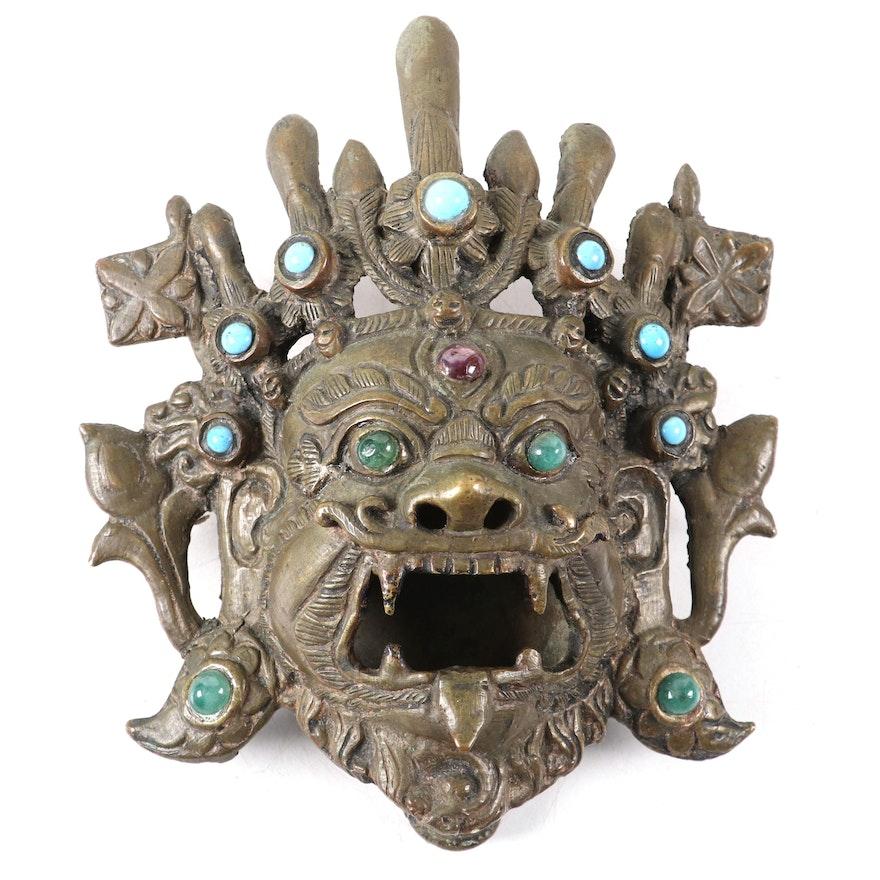 Indian Bronze Mask of Kirtimukha with Ruby, Beryl and Imitation Turquoise