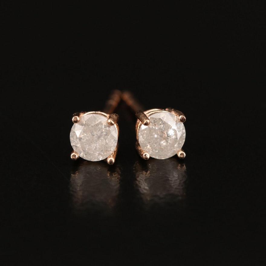 14K Rose Gold 0.60 CTW Diamond Stud Earrings