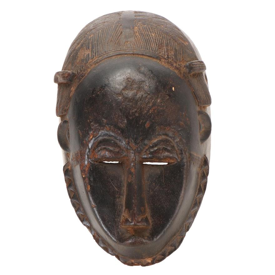 Yaure Style Carved Wood Passport Mask, Côte d'Ivoire