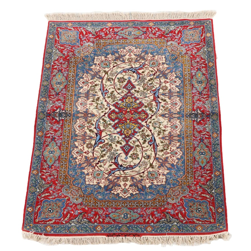 3'6 x 5'11 Hand-Knotted Persian Isfahan Signed Silk and Wool Rug