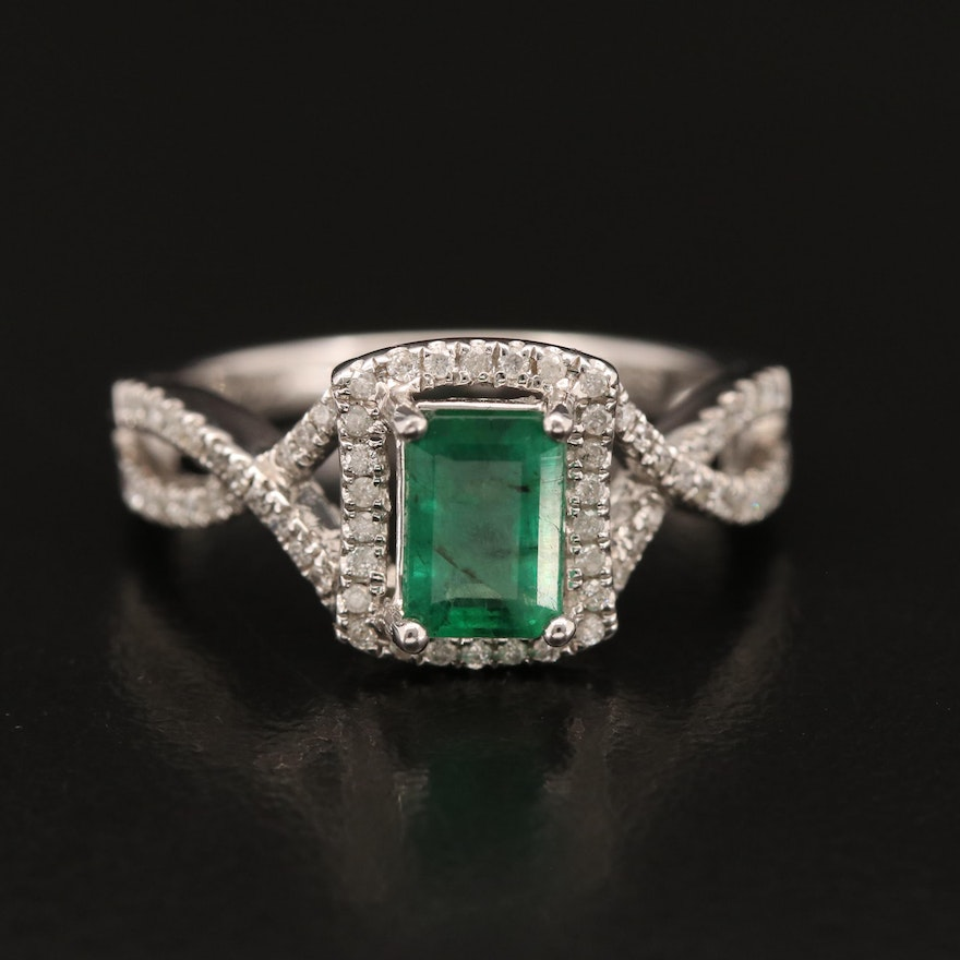 14K 1.15 CT Emerald and Diamond Ring with Twist Shoulders