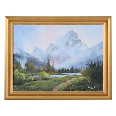 "Kenny Olson Acrylic Painting ""Morning Mist,"" 2001"