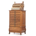 National Cash Register on Quarter-Sawn Oak Mercantile Cabinet