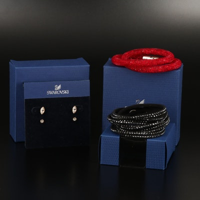 "Swarovski ""Stardust"" and Suede Wrap Bracelets and ""Harley"" Earrings"