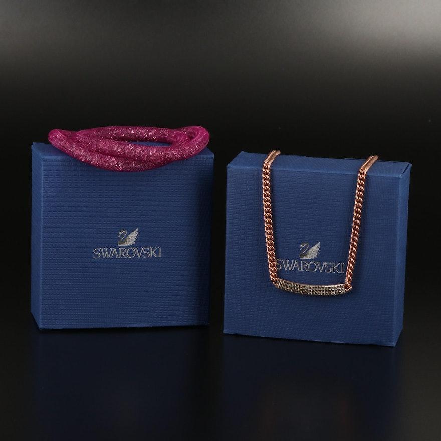 """Swarovski Jewelry """"Vio"""" Necklace and """"Stardust"""" Wrap Bracelet"""