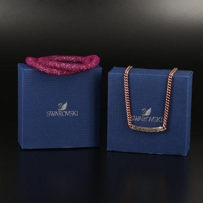"Swarovski ""Vio"" Stationary Necklace, Suede Wrap and ""Stardust"" Bracelets"