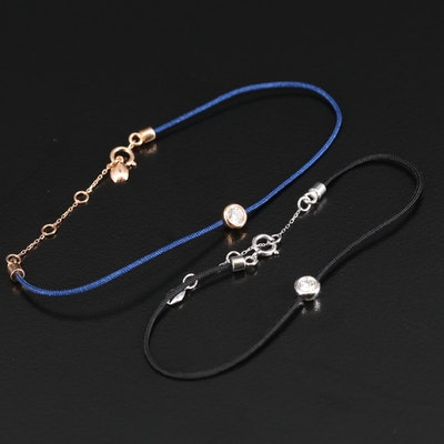 18K Bezel Set Diamond Solitaire Bracelets