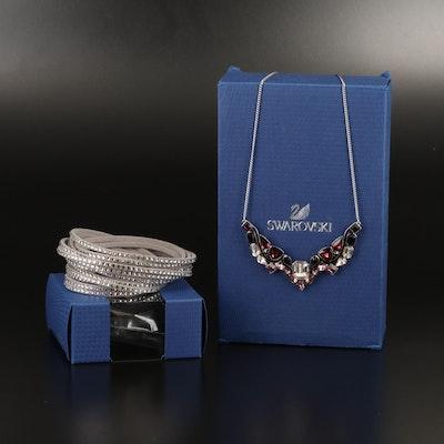 "Swarovski ""Impulse"" Necklace and Suede Wrap Bracelet"