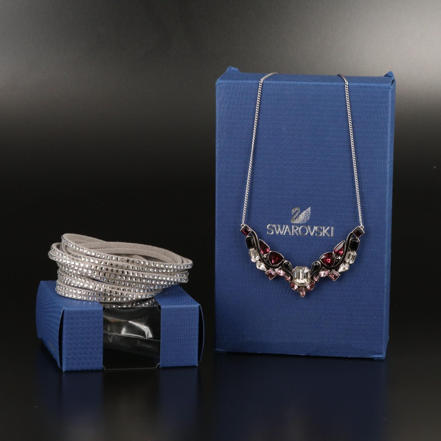 "Swarovski Suede Wrap Bracelet and ""Impulse"" Multicolor Stationary Necklace"