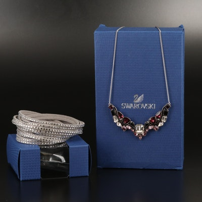"Swarovski ""Impulse"" Necklace and Suede Wrap Bracelet"