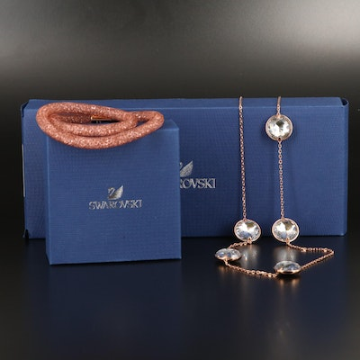 "Swarovski ""Globe Strandage"" Necklace and ""Stardust"" Wrap Bracelet"