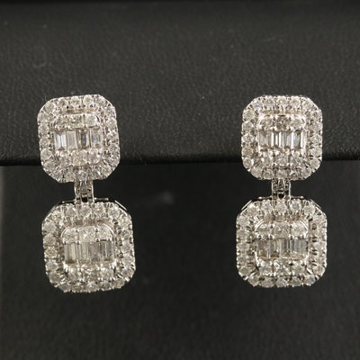 14K 2.13 CTW Diamond Square Dangle Earrings