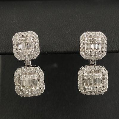 14K 2.13 CTW Diamond Square Dangle Earrings