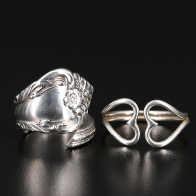 "Sterling ""Melbourne"" by Oneida Spoon Ring with Double Heart Ring"