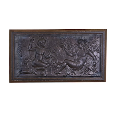 Embossed Metal Frieze Wall Hanging, 20th Century