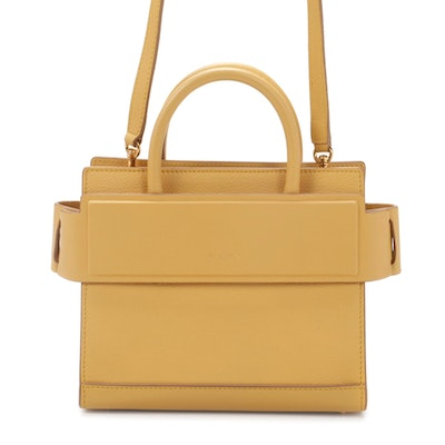 Givenchy Mini Horizon Two-Way Satchel in Yellow Grained Leather
