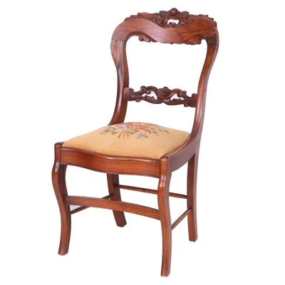 Victorian Rosewood-Graineg Needlepoint-Upholstered Side Chair, Late 19th Century