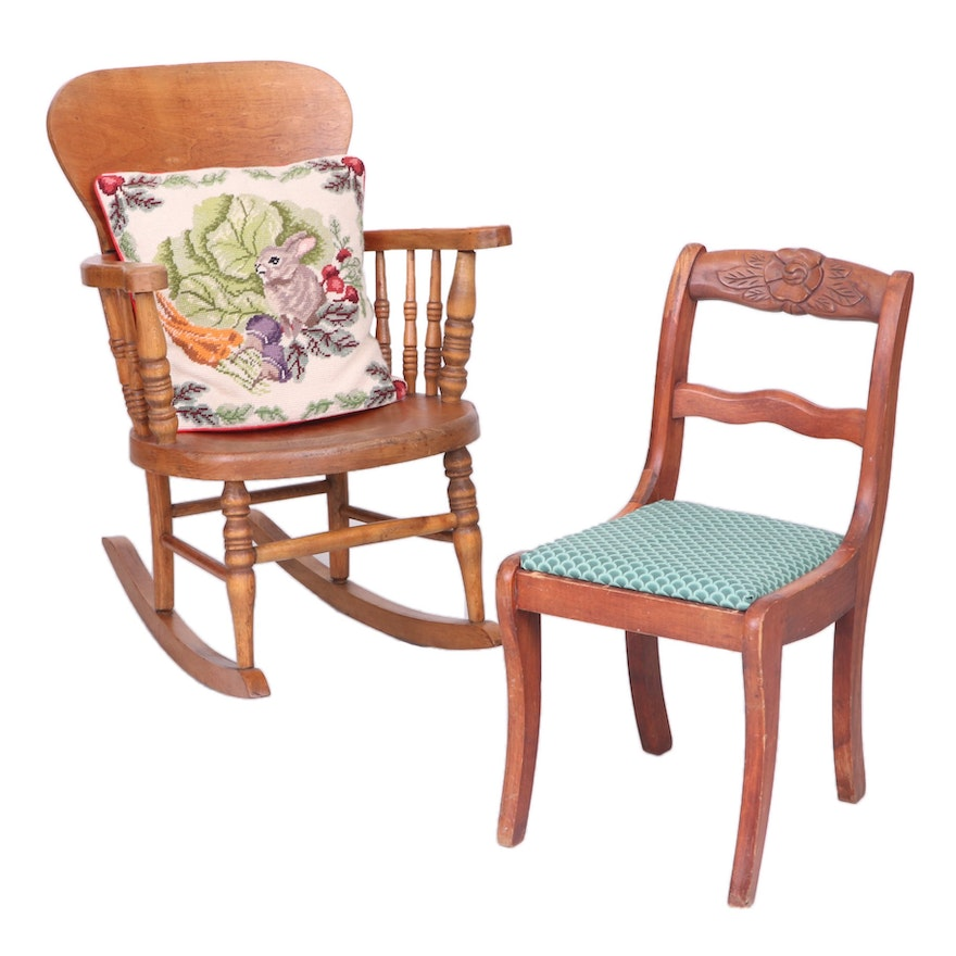 Victorian Style Youth Rocking Chair, Child's Chair and Needlepoint Bunny Pillow