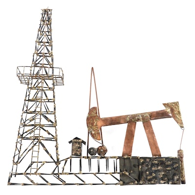 Modernist Copper and Mixed Metal Oil Rig Sculpture, Mid to Late 20th Century