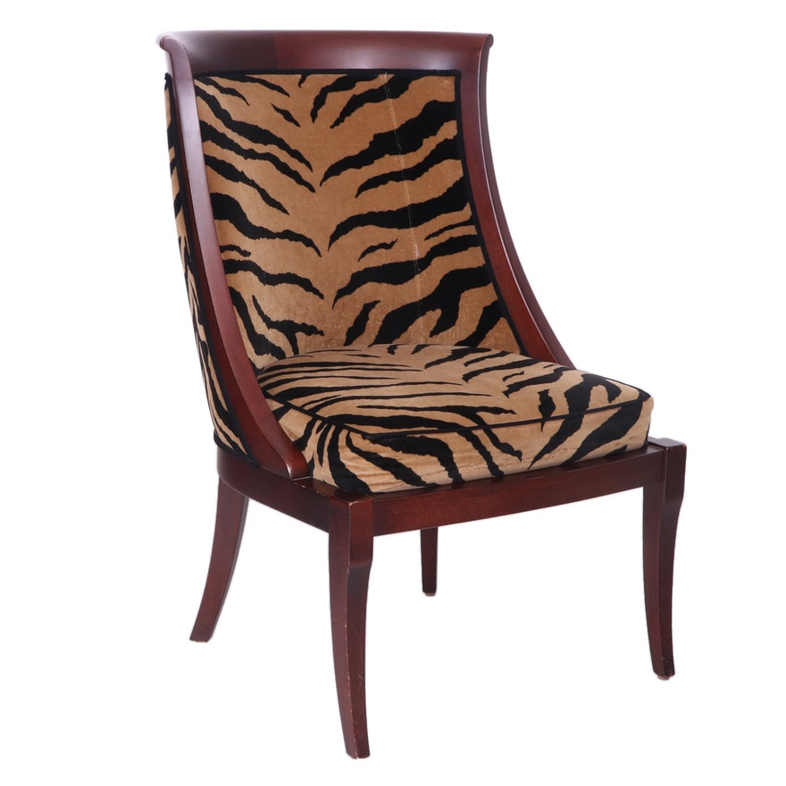 Ethan Allen Felted Cotton Animal Print Upholstered Accent Chair