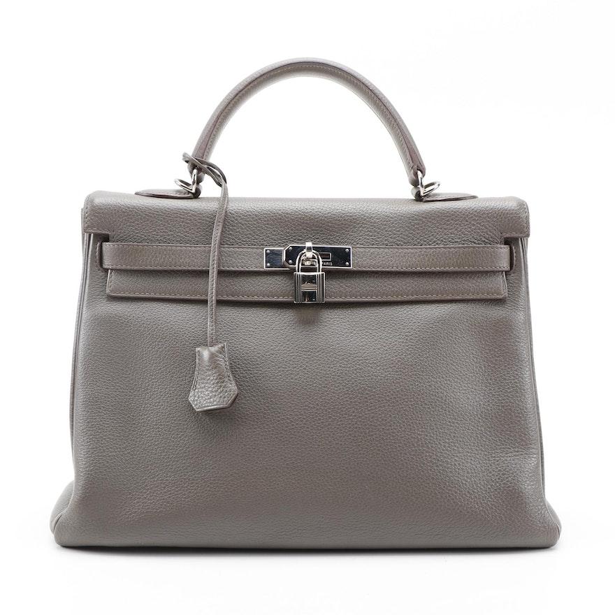 Hermès Kelly 35 Satchel in Etain Clemence Leather with Palladium Hardware