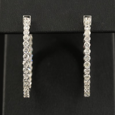 14K 3.50 CTW Diamond Inside-Out Hoop Earrings