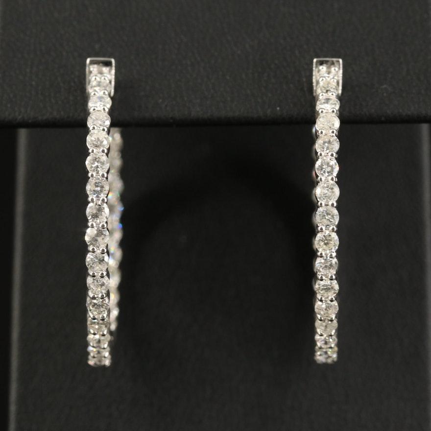 14K 3.50 CTW Diamond Inside-Out Hoop Earrings