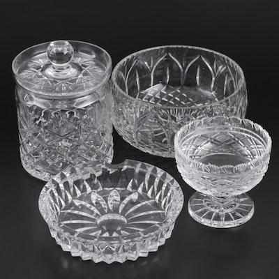 Waterford Crystal Candy Dish and Other Glass Bowl, Ashtray and Lidded Jar