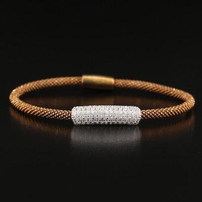 Sterling Silver Pavé Cubic Zirconia Popcorn Bracelet