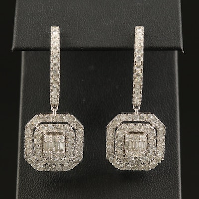 14K 4.39 CTW Diamond Hoop with Square Dangle
