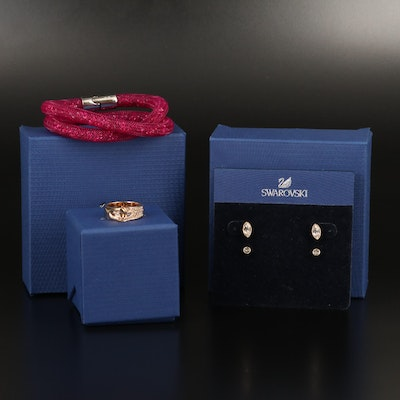 Swarovski Jewelry Featuring Harley Stud Earrings and Gallon Interlocking Ring