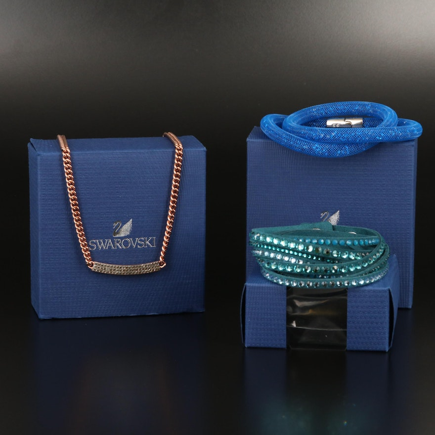 "Swarovski Assortment Featuring ""Stardust"" and Suede Wrap Bracelets"