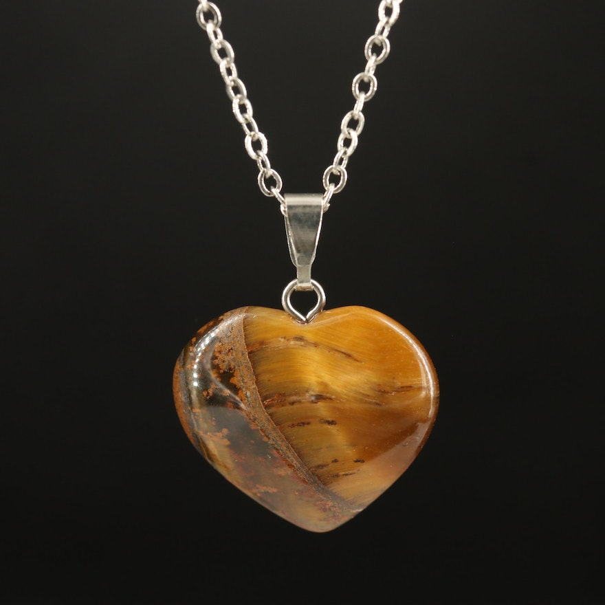 Carved Tiger's Eye Heart Pendant Necklace