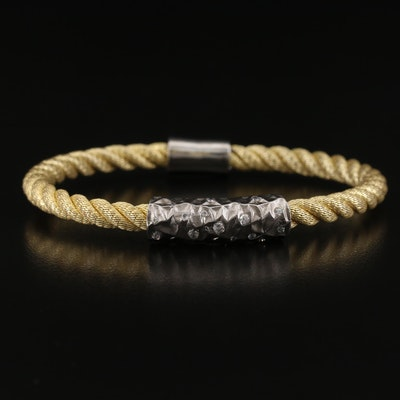 Sterling Silver Twisted Cable Bracelet with Magnetic Clasp
