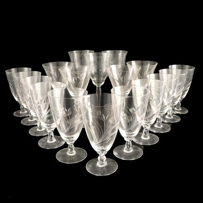 """Fostoria """"Spray"""" and Other Etched Glass Stemware, Mid-20th Century"""